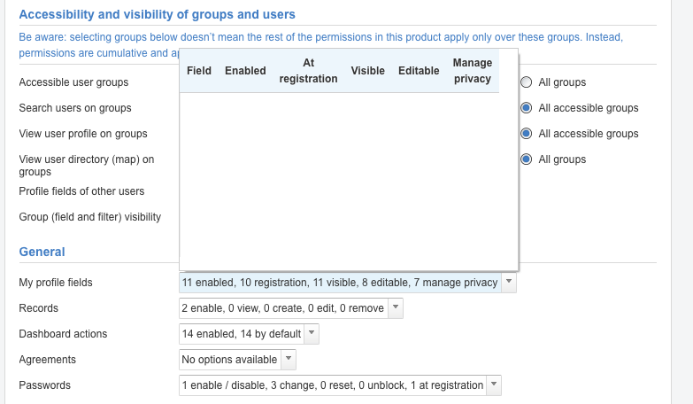 Product > 'My profile fields' shows empty list